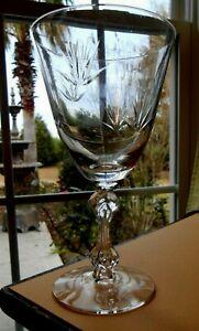 """Set 2 Wine Glasses Tiffin Franciscan Dawn 7"""" Cut Crystal Stem #17679"""
