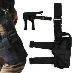 Tactical Pistol Gun Holster Wrap-around Drop Thigh Leg Bag Hand Adjustable Black