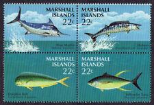 MARSHALL ISLANDS, Scott # 124-127 (127A), BLOCK OF GAME FISH, DOLPHIN, TUNA, MNH