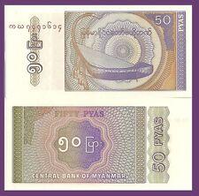 """Myanmar (Burma) P68, 50 Pyas,  """"Saung gauk"""" (Burmese bow harp) UNC 1994"""