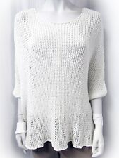 NEW CHARLI KNIT TOP SWEATER TUNIC DOLMAN SLEEVE ONE SIZE WHITE CREW NECK LOOSE