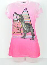 Maya Large See Trough Faded Pink Bite Me! Dinosaur Aztec Ladies Tshirt Crew