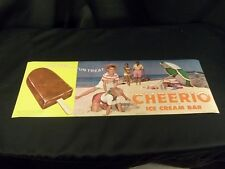 "CHEERIO ICE CREAM BAR 1963 JOE LOWE LITHO PRINT KIDS HOPSCOTCH ON BEACH 17X6"""
