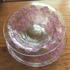 VTG Lancaster Glass Colony Crystal Pink Dogwood Console Set~Footed Bowl & Plate