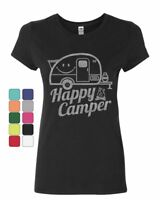 Happy Camper Women's T-Shirt RV Tourism Camping Summer Nature Travel Shirt