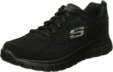SKECHERS MEN'S BURNS AGOURA TRAINERS ATHLETIC LEATHER MASH SNEAKERS BLACK 52635