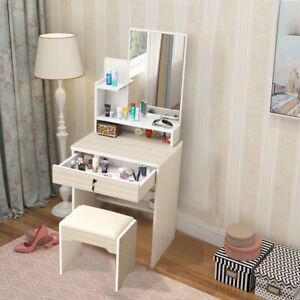 Modern Small Dressing Table Set Makeup Desk With Stool Mirror & 1 Drawer Set