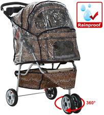 Double Pet Stroller Small Dog Cat Leopard Print Folding Jogger Dual Carrier Gear