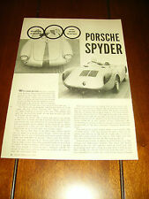 1957 PORSCHE SPYDER   ***ORIGINAL VINTAGE ARTICLE***