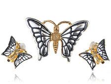 Cute Pin Brooch Earring Set Jewelry Vintage White & Golden Tone Flying Butterfly