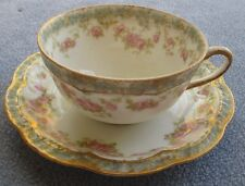 Haviland Limoges Schleiger 271H or 271A Cup & Saucer Pink Roses Double Gold Trim
