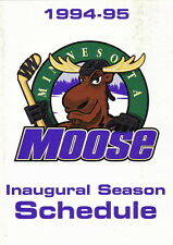 1994-95 MINNESOTA MOOSE HOCKEY POCKET SCHEDULE - INAUGURAL SEASON