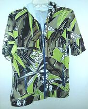 Zenergy Chico's Zipper Sweatshirt JACKET 0 XS S SPANDEX Brown Green Floral Print