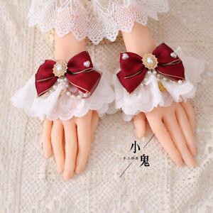 Dark Red Gothic Japanese Lolita Hair Hoop Hair Clip Side Clip Necklace Earrings