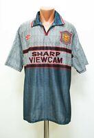 MANCHESTER UNITED 1995/1996 AWAY FOOTBALL SHIRT JERSEY UMBRO SIZE XL ADULT GREY