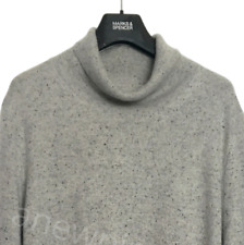 M&S Ladies Jumper Grey Fleck Pure Cashmere Roll Neck BNWT Marks Autograph £89