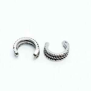 2pcs Stainless Steel Twist Cord Design Ear Cuff Clip Non-Piercing Stud Earrings