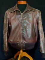 "VERY RARE VINTAGE 1950'S ""KNOPF""  HEAVY BROWN LEATHER JACKET SIZE EXTRA LARGE"