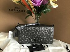 NWT. Coach Metallic Leather Signature Dinky Clutch Cross-body Bag Graphite 40649