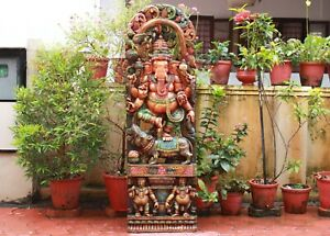 Ganesha Statue Big Ganesh Sculpture Hindu God Wooden Temple Figurine 5ft Panel
