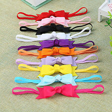 JN_ 10Pcs Baby Girl Infant Toddler Headband Bow Hair Band Hair Accessory Bluel