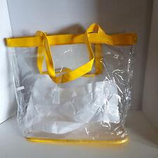 Large Clear Yellow Shopper Beach Gym Tote Bag Security Stadium Handbag Purse