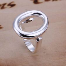 925silver Plt Adjustable Open Band Thumb Rings Ladies Statement Gift Wrap 15type Hollow Oval Ring