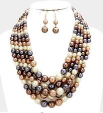 Brown Cream Gray Pearl Crystal Multi Layered Bridal Beaded Necklace Set Earring