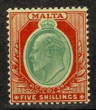 MALTA 1904 - 1914 SG 63, 5/- STAMP MULTI CROWN CA WMK, LIGHTLY MOUNTED MINT