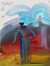 """PETER MAX """"SAGE WITH CANE"""" 1988   ORIGINAL ACRYLIC/CANVAS 16X12""""   MAKE AN OFFER"""