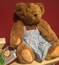 """Authentic Handmade Vermont Jointed Brown Teddy Bear 16"""" w/ tag & Blue Dress"""