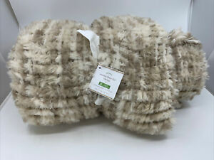 NWT Pottery Barn Faux Fur Woven Fringe Sofa Throw Blanket Neutral Beige 50x60