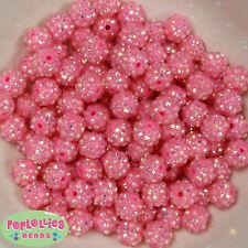 12mm Pink Resin Rhinestone Bubblegum Beads Lot 40 pc.chunky gumball