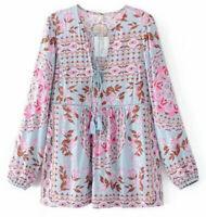 Women Bohemian Chic Vintage Floral print Boho Hippie peasant blouse top shirt