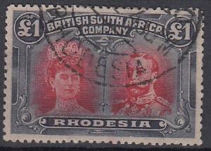 RHODESIA 1910-13 £1 carmine-red and bluish black - 31215