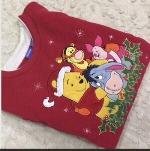 Vintage 90s Red Disney Winnie the Pooh Christmas Sweater