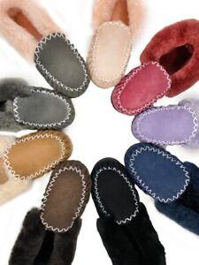 100% Australian Sheepskin Moccasins  - Women's Men's Slippers, Warm Slip On Uggs