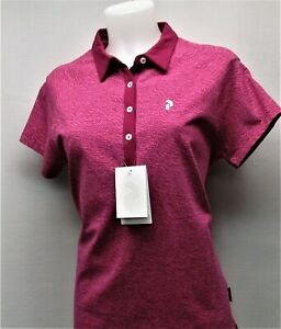 New Ladies XL PEAK PERFORMANCE short sleeve golf polo shirt Magenta