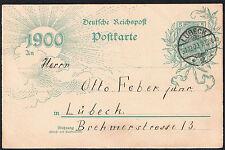 Vintage German 'Deutsche Reichspost' 1900 New Year Postcard Lubeck