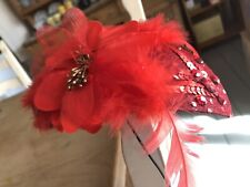Vintage Red Fascinator Hairpiece With Sequins and Feathers Wedding Ascot Party