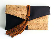 Faux Leather Cork Clutch Bag Brown Suede Tassel with Removable Gold Chain Strap
