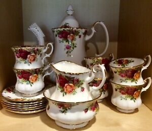 Royal Albert old country roses Coffee Set 6 setting coffee pot includin England