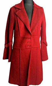HEINE Coat Size 14 Winter Red Wool Blend Raw Edge Long Coat Smart Casual