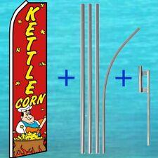 Kettle Corn Flutter Flag + Pole Mount Kit Tall Wind Feather Swooper Banner Sign