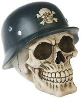 Deko Totenschädel mit Stahlhelm Schädel Skull Wehrmacht Halloween Gothic DOD309