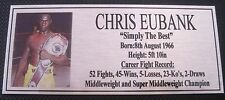 """CHRIS EUBANK new Boxing Champions Gold  Subimated Plaque """"FREE POSTAGE"""""""