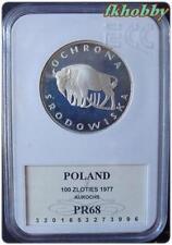 Poland 1977 silver 100 zl Żubr Bison Aurochs Bisonte PR68