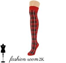 Womens red tartan scottish over the knee socks red & black adult size check
