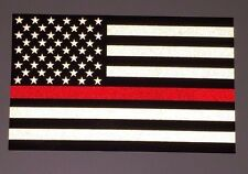 """TWO 3""""x5"""" Fallen Firefighter Thin Red Line American Flag Reflective Decal"""