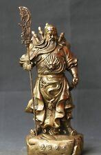 China Feng Shui Brass Dragon Warrior Guan Gong Guan Yu Hold Sword Stand Statue